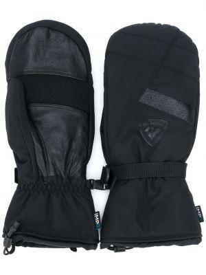 Кожаные черные варежки со вставками Rossignol