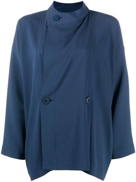 Niebieska bluzka z długimi rękawami zapinane na guziki 132 5. Issey Miyake