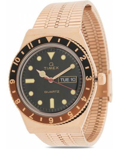 Кварцевые часы золотые круглые с кварцем Timex