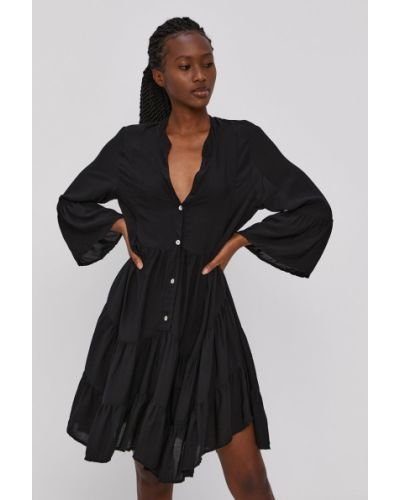 Czarna sukienka mini rozkloszowana z wiskozy Hailys