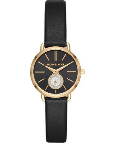 Водонепроницаемые часы черные на кожаном ремешке Michael Kors