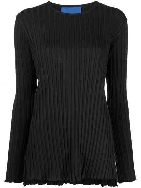 Czarny t-shirt z długimi rękawami materiałowy Simon Miller