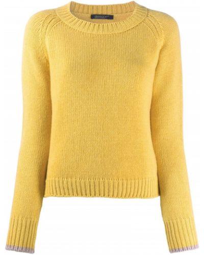 Кашемировый желтый джемпер в рубчик с круглым вырезом Aragona