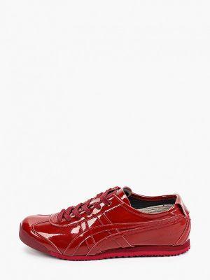 Лаковые бордовые кожаные низкие кроссовки Onitsuka Tiger