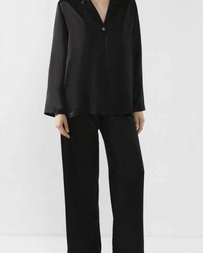 Черная шелковая пижама однотонная La Perla