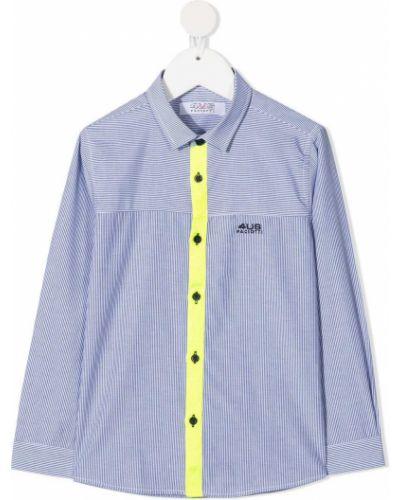 Синяя классическая рубашка с воротником с вышивкой на пуговицах Cesare Paciotti 4us Kids