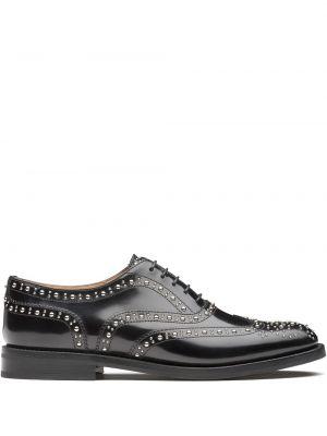 Koronkowa skórzany czarny buty brogsy zasznurować Churchs