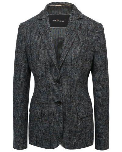 Шерстяной пиджак - синий Kiton