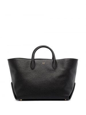 Кожаная черная сумка-тоут на молнии Khaite