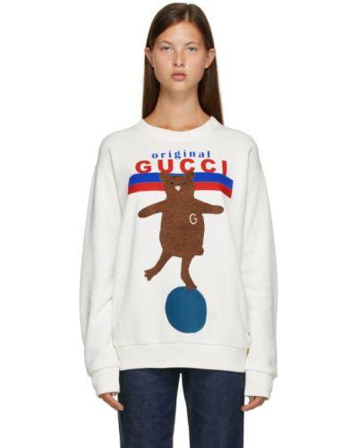 Z rękawami biały sweter z niedźwiedziem z kołnierzem z aplikacjami Gucci
