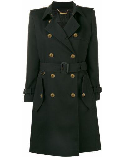 Шерстяное черное пальто классическое с воротником Givenchy