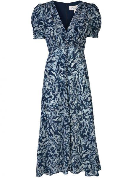 Платье мини миди с V-образным вырезом Saloni