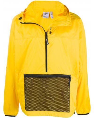 Bawełna żółty z rękawami anorak kurtka z kapturem Adidas