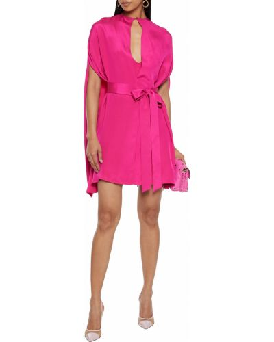 Розовое шелковое платье мини Valentino