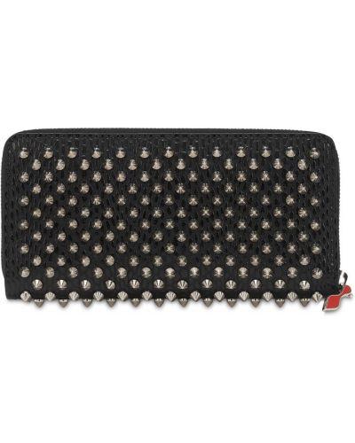 Кожаный кожаный кошелек с карманами на молнии с аппликациями Christian Louboutin