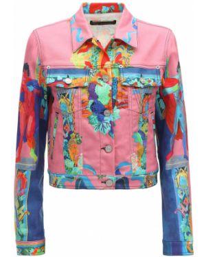 Ажурная розовая джинсовая куртка с манжетами с воротником Versace