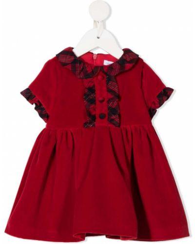 Плиссированное красное платье с рукавами из вискозы с короткими рукавами Patachou