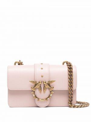 Złota torebka na łańcuszku - różowa Pinko