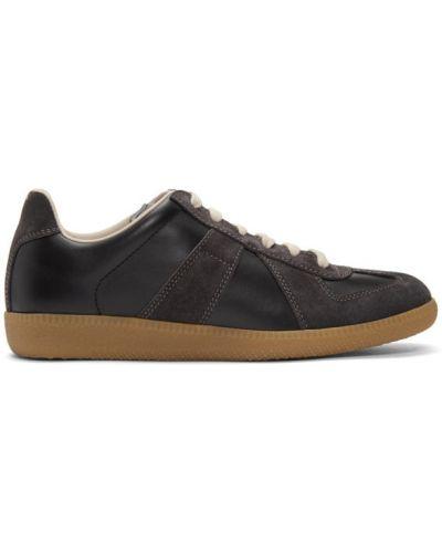 Черные кроссовки на шнуровке на каблуке с заплатками Maison Margiela