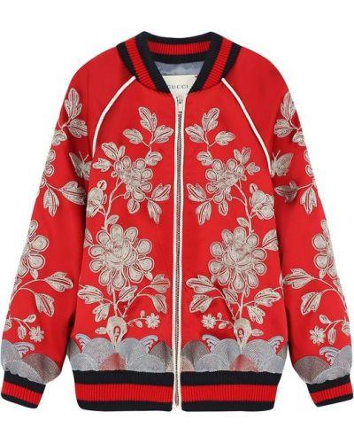 Красный бомбер с вышивкой Gucci