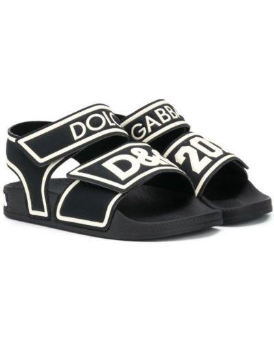 Сандалии черные плоский Dolce & Gabbana Kids