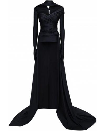 Asymetryczny czarny top z draperią Balenciaga