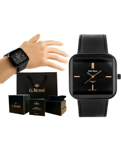 Klasyczny czarny złoty zegarek na skórzanym pasku Gino Rossi