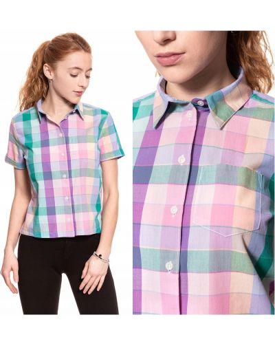 Różowa koszula krótki rękaw bawełniana Wrangler