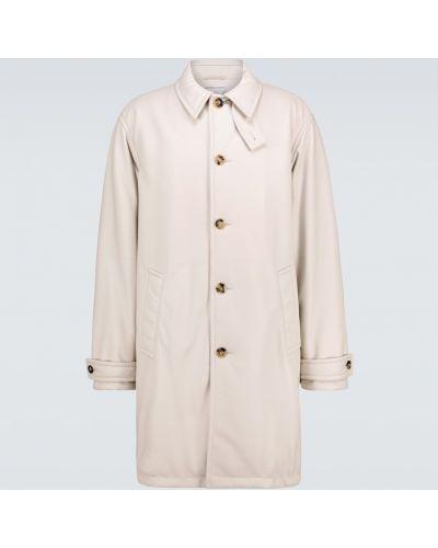 Ciepły beżowy płaszcz skórzany Bottega Veneta
