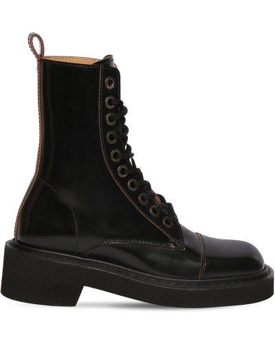 Сапоги без каблука на шнуровке на каблуке с квадратным носком квадратные Maison Margiela