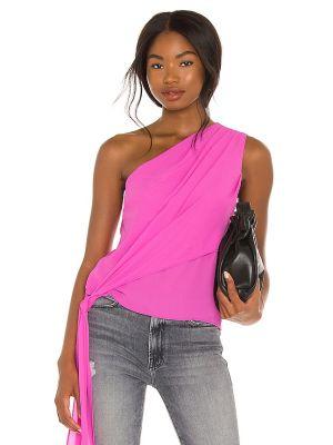 Шифоновый розовый топ с драпировкой Krisa