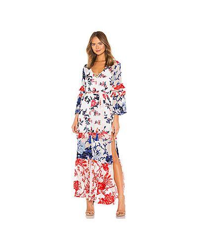 Платье с поясом с вышивкой с цветочным принтом Hemant And Nandita