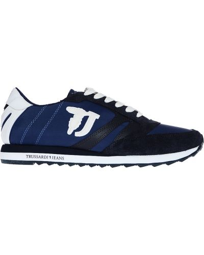Синие кроссовки замшевые Trussardi Jeans
