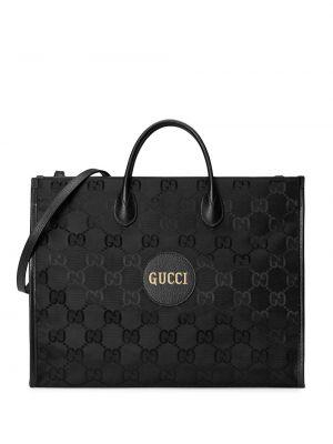 Czarna torba na ramię skórzana z siateczką Gucci
