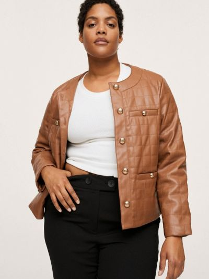 Кожаный пиджак - коричневый Violeta By Mango