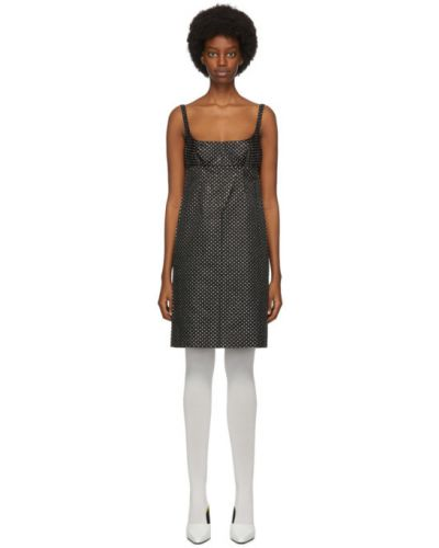 Шелковое черное платье в горошек Marc Jacobs