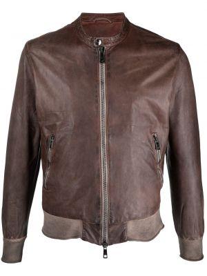 Brązowa długa kurtka skórzana z długimi rękawami Giorgio Brato