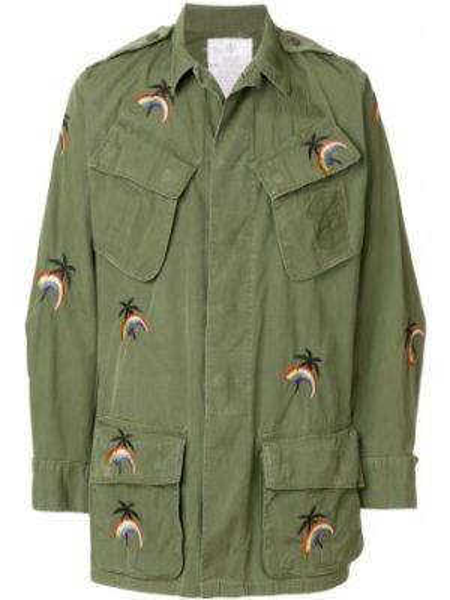 Зеленая хлопковая куртка милитари с вышивкой As65
