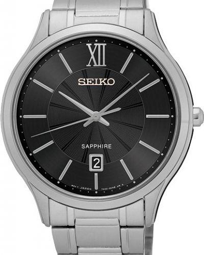 Часы водонепроницаемые серые серебряный Seiko