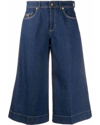 Синие с завышенной талией джинсы свободного кроя Versace Jeans Couture