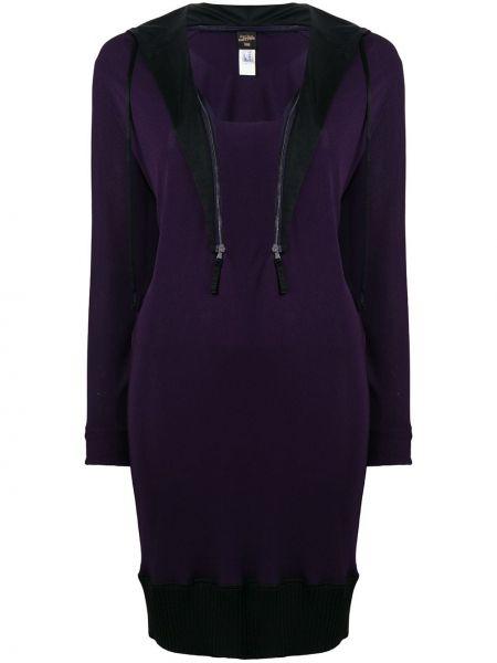 Платье в рубчик с V-образным вырезом винтажное с воротником Jean Paul Gaultier Pre-owned