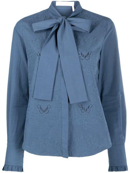 Блузка с вышивкой - синяя See By Chloé
