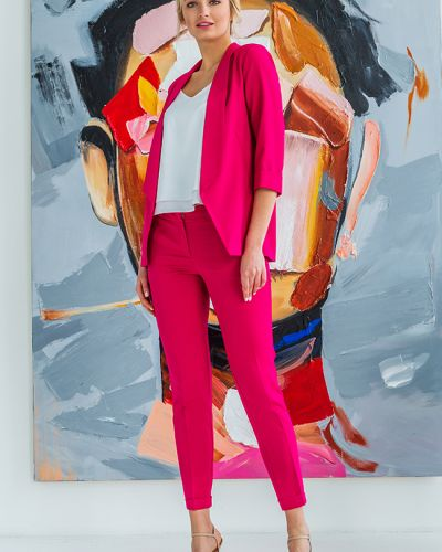 Малиновый классический пиджак с воротником с манжетами Lipar