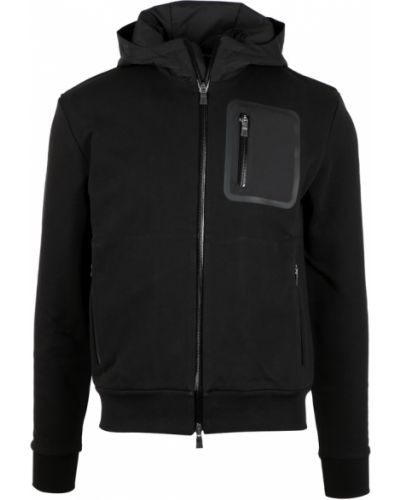 Czarny sweter z kapturem Herno