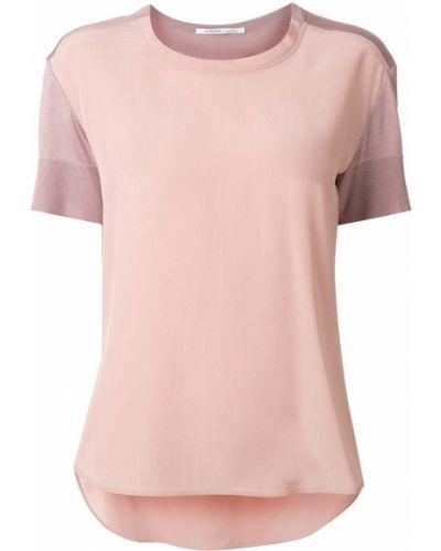 Шелковая розовая футболка свободного кроя с круглым вырезом Agnona