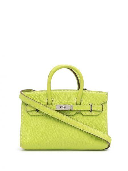 Zielona torebka srebrna Hermes