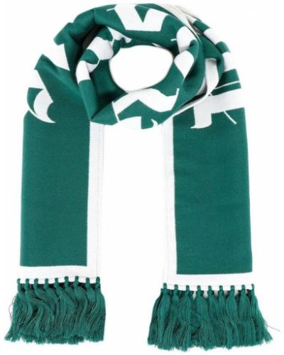 Zielony szalik z frędzlami na co dzień Palm Angels