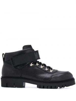 Czarny buty skórzane zasznurować z prawdziwej skóry okrągły Moschino