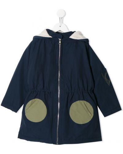 С рукавами классическое темно-синее длинное пальто с капюшоном Owa Yurika
