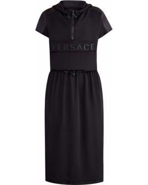 Платье с поясом с капюшоном сетчатое Versace